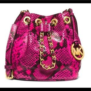 Michael Kors Pink Snakeskin Small Frankie Bag